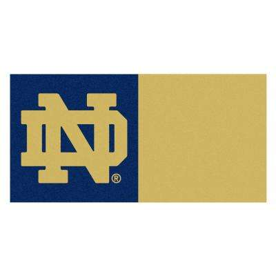 NCAA - Notre Dame Navy Blue and Brown Nylon 18 in. x 18 in. Carpet Tile (20 Tiles/Case)
