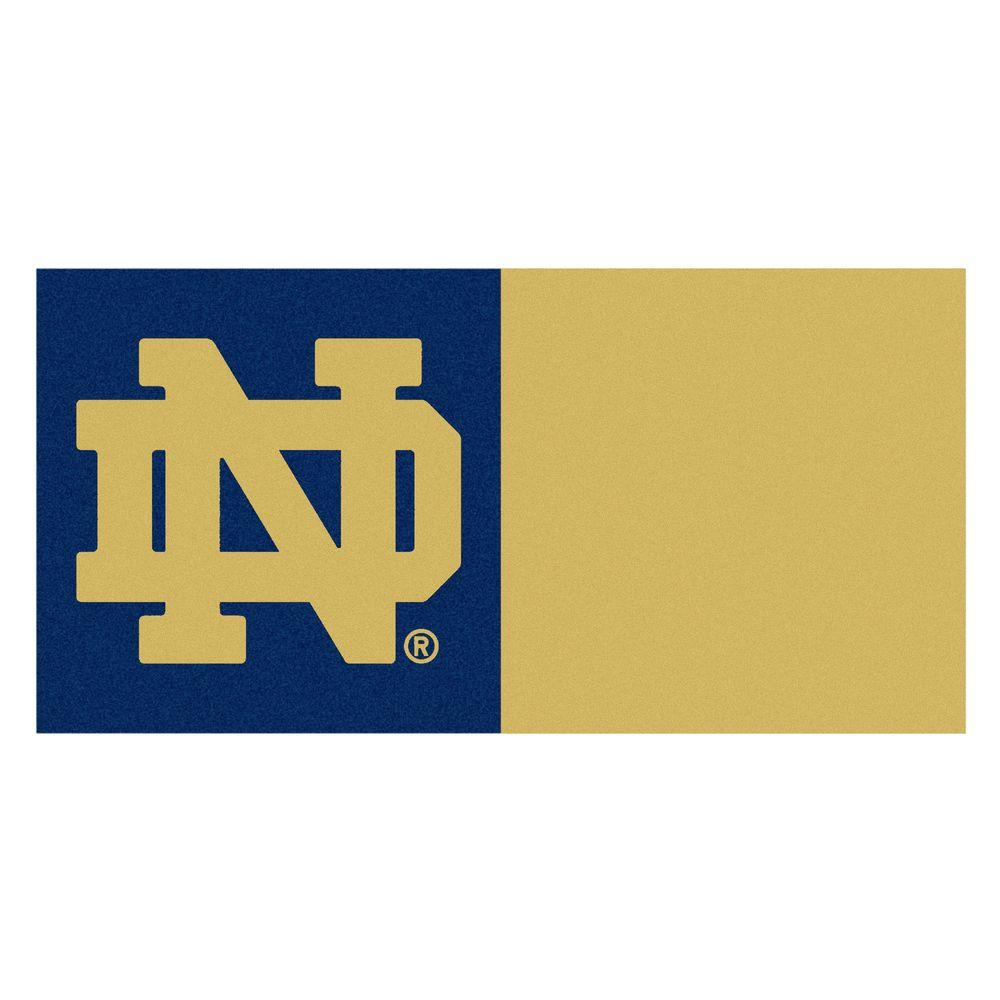Fanmats Ncaa Notre Dame Navy Blue And Brown Nylon 18 In X Carpet Tile 20 Tiles Case 8514 The Home Depot