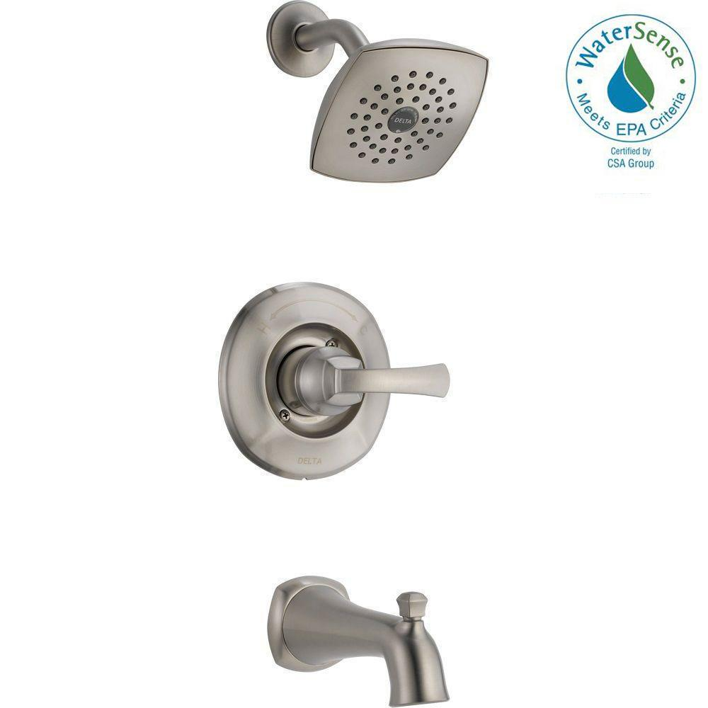 Delta Mandara Single Handle 1 Spray Tub And Shower Faucet In Brushed Nickel Valve Included