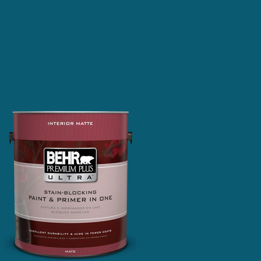 1 gal. #540D-7 Deep Blue Sea Matte Interior Paint and Primer