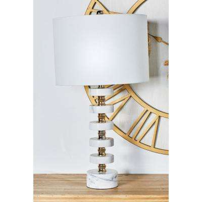 29 in. White Round Segmented Table Lamp with Linen Shade