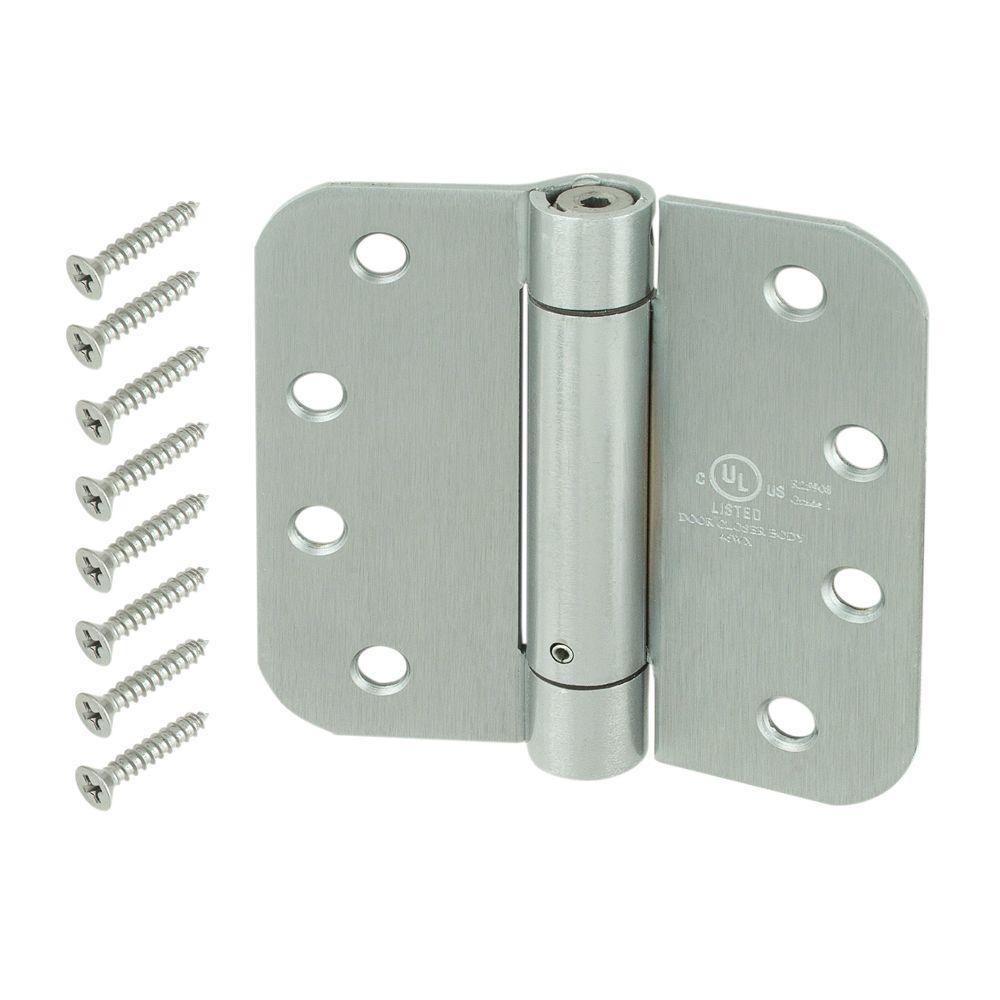 Everbilt 4 inch Satin Chrome 5/8 inch Radius Adjustable Spring Door Hinge by Everbilt