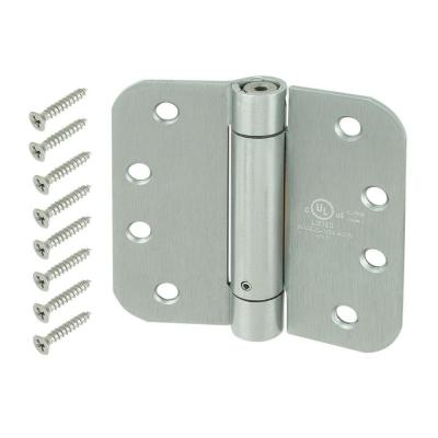 4 in. Satin Chrome 5/8 in. Radius Adjustable Spring Door Hinge