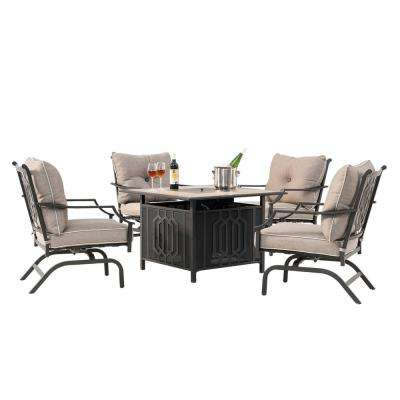 Goldie 5-Piece LP Metal Patio Firepit Seating Set With Tan Cushions