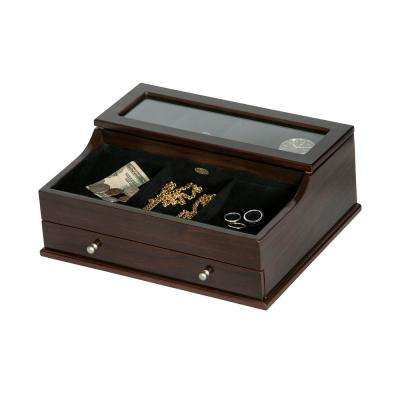 Hampden Mahogany Finish Wooden Valet Box