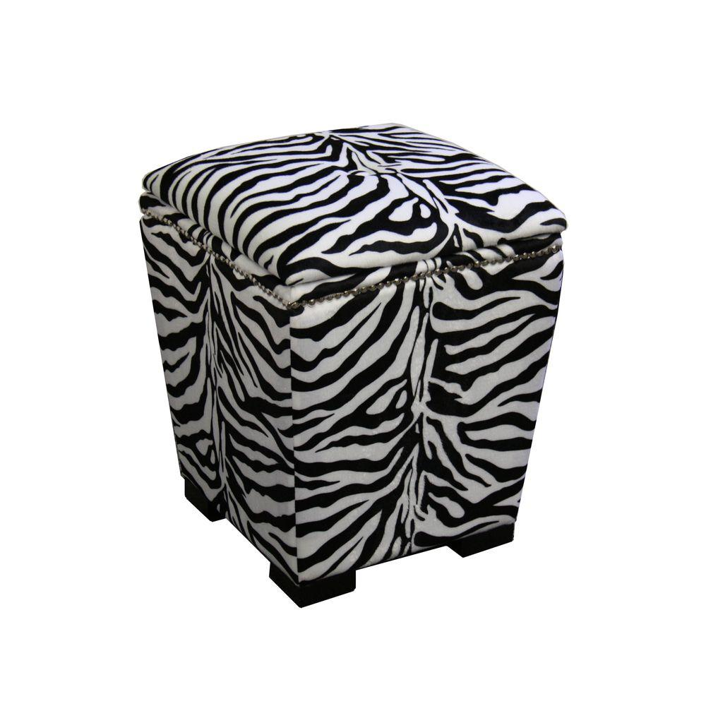 ORE International Zebra Storage Ottoman