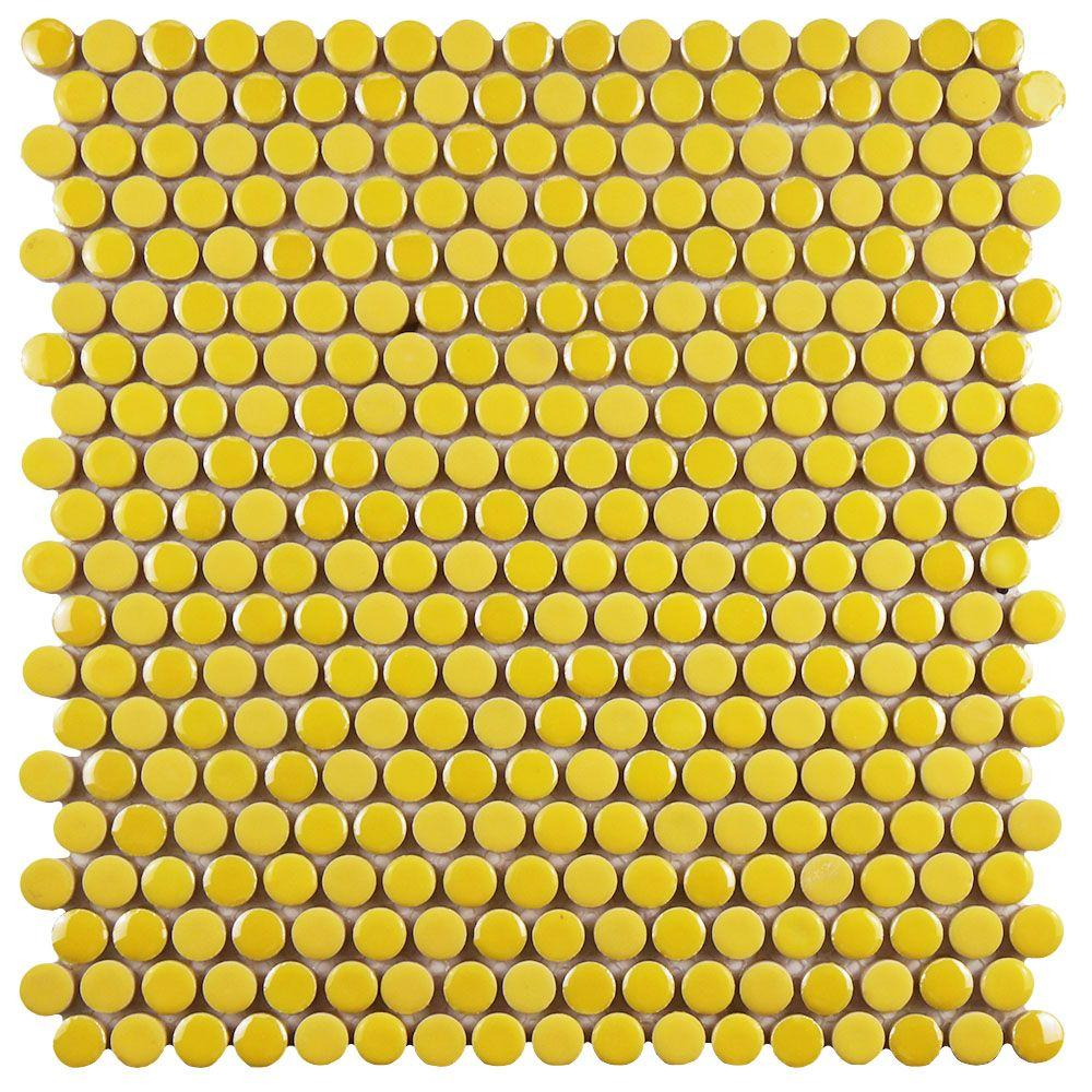 Merola Tile Galaxy Penny Round Yellow 11 1 4 In X