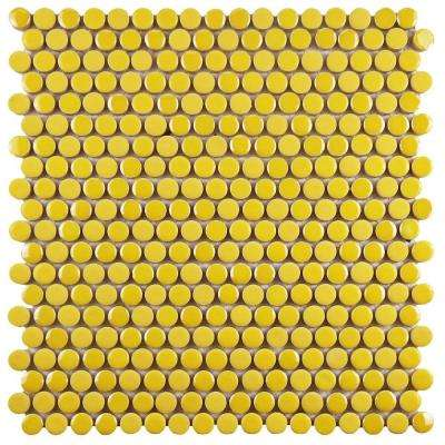 Galaxy Penny Round Yellow 11-1/4 in. x 11-3/4 in. x 9 mm Porcelain Mosaic Tile