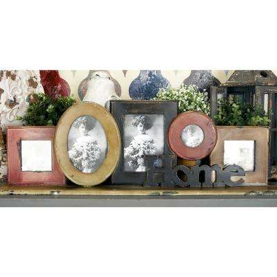 """33 in. x 11 in. Brown, Gold and Black Wood """"Home"""" Table Photo Frame Decor"""
