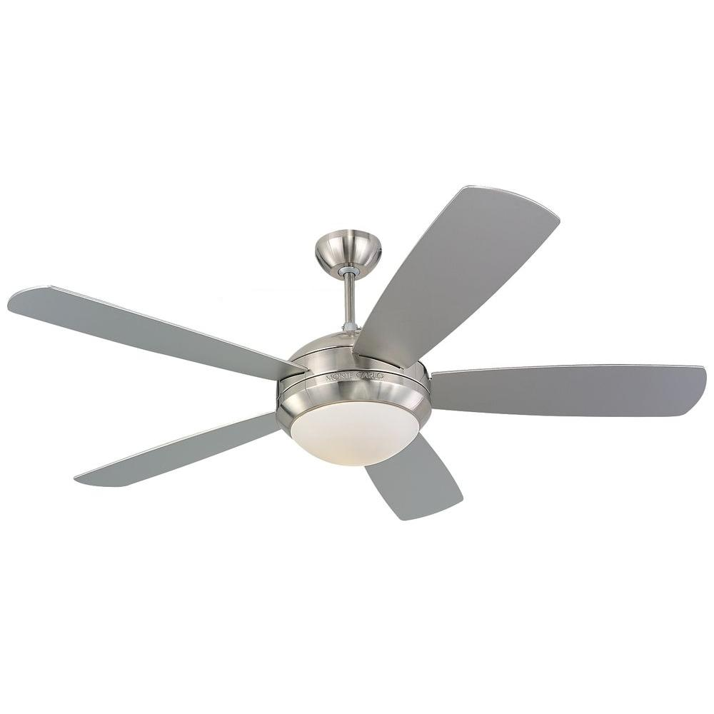 Monte Carlo Discus 52 In Brushed Steel Silver Ceiling Fan