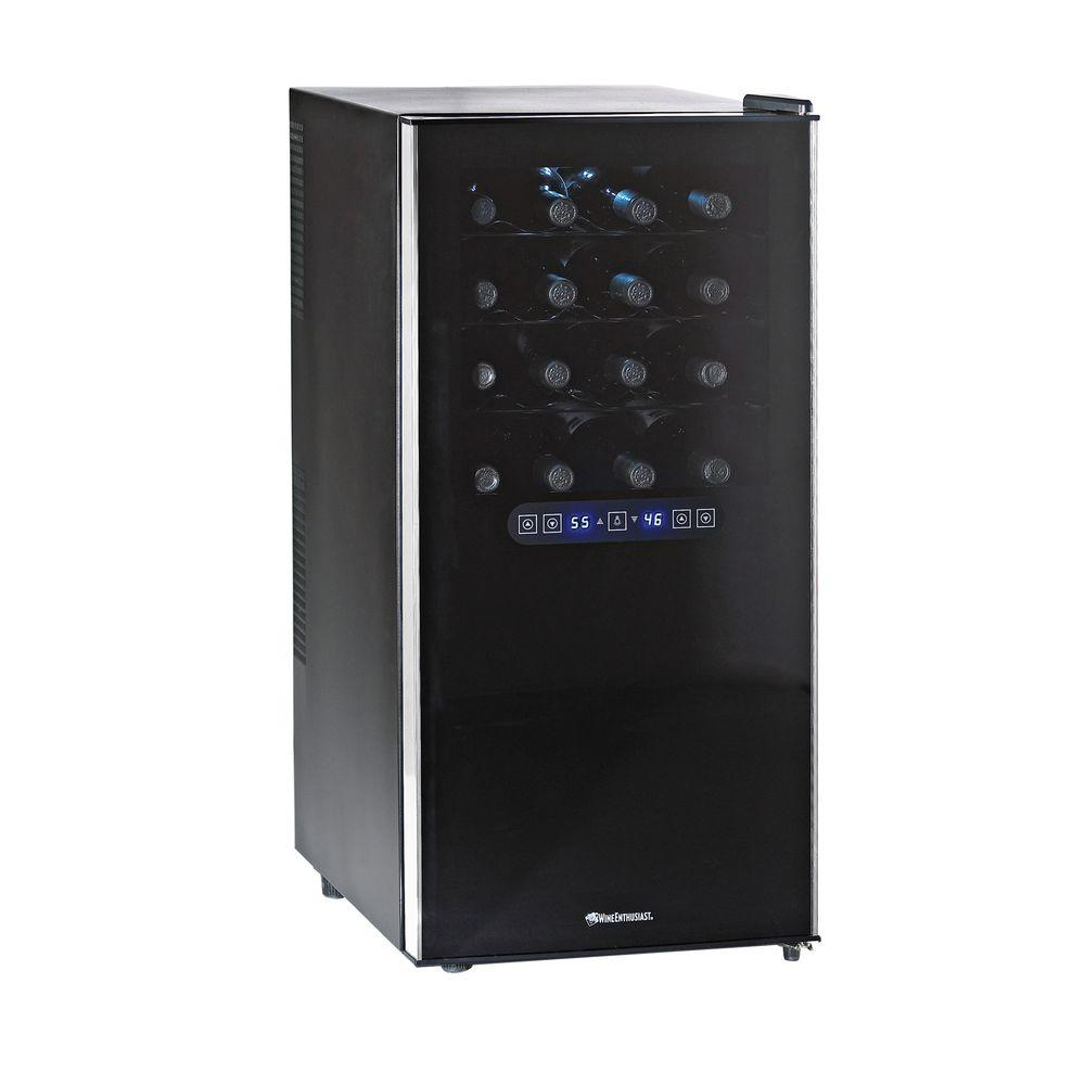 wine enthusiast wine cooler wine enthusiast silent 32 bottle dual zone touchscreen 31189