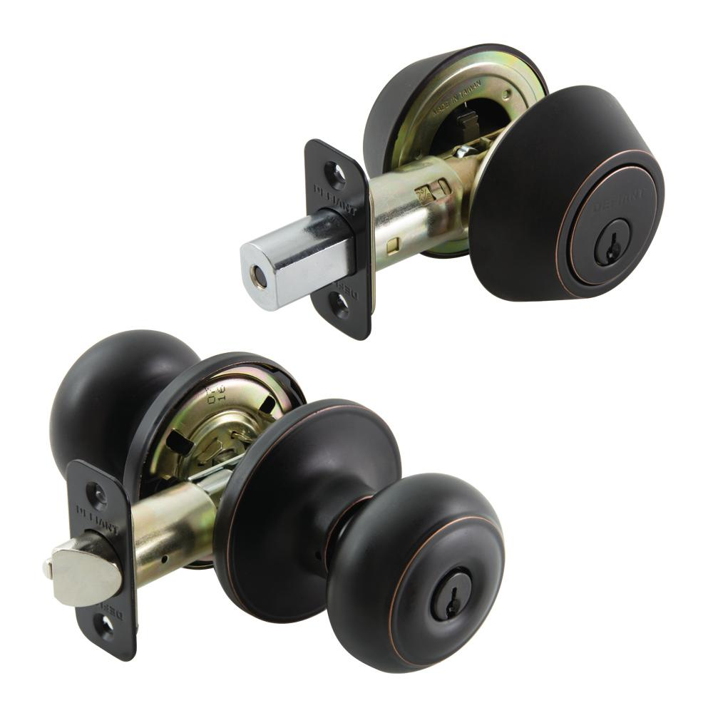 Hartford Entry Knob and Double Cylinder Aged Bronze Deadbolt Combo Pack