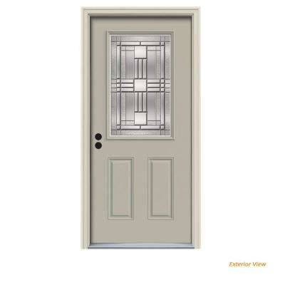 36 in. x 80 in. 1/2 Lite Cordova Desert Sand Painted Steel Prehung Right-Hand Inswing Front Door w/Brickmould