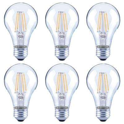 60-Watt Equivalent A19 Dimmable Clear Glass Filament Vintage LED Light Bulb in Cool White (6-Pack)