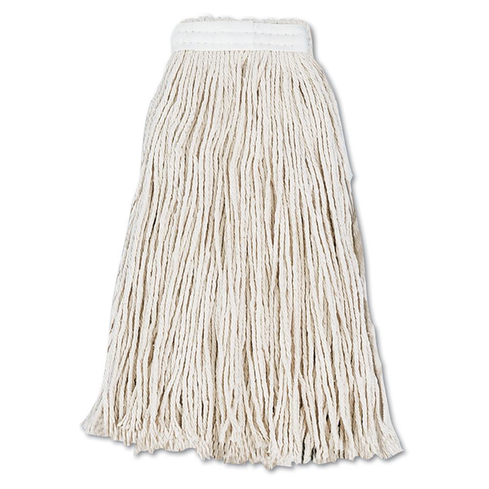 Cut-End Wet Mop Head, Cotton, #16, White, 12/Carton