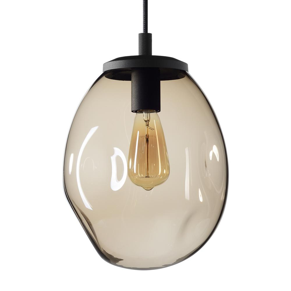 Casamotion Organic Contemporary 9 In W X 12 In H 1 Light Black Hand Blown Glass Pendant Light With Brown Glass Shade