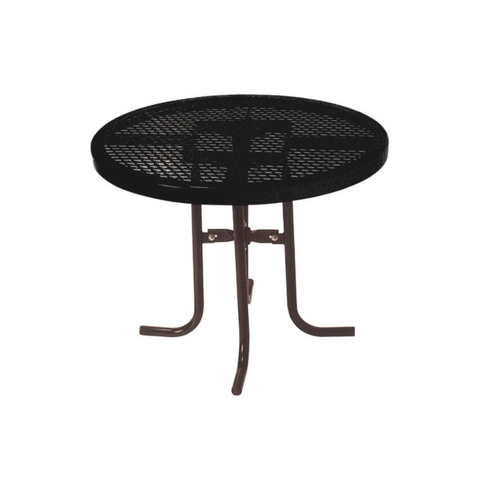 Ultra Play 36 in. Diamond Black Commercial Park Low Round Portable Table The 361 sq. portable food court table is a standard 30 in. high. The tabletop is 36 in. with a diamond expanded metal pattern and thermoplastic coating. The frame is powder coated with a 1-5/5 in. O.D., all MIG welded, with a no trip design. The table is portable and come with all stainless steel hardware. Color: Black.