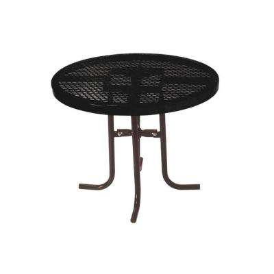 36 in. Diamond Black Commercial Park Low Round Portable Table