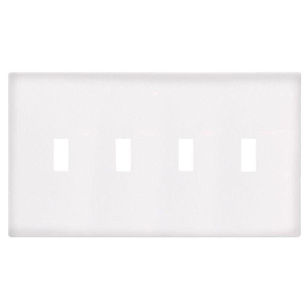 4-Gang Screwless Toggle Wall Plate - White