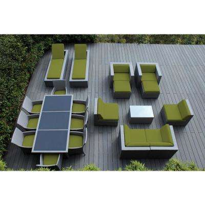 Gray 20-Piece Wicker Patio Combo Conversation Set with Spuncrylic Peridot Cushions