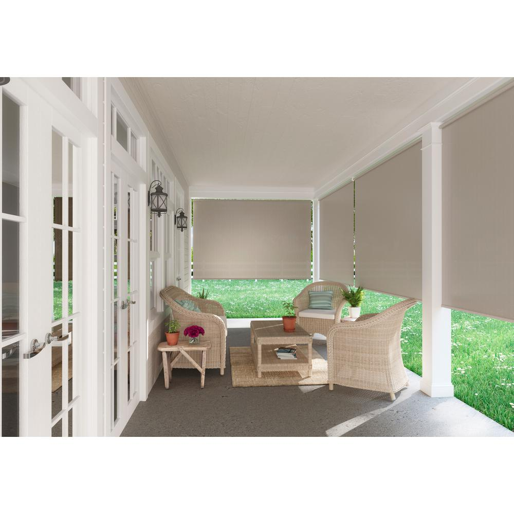 Coolaroo Oatmeal Cordless Light Filtering Fade Resistant Fabric Exterior Roller Shade 96 in. W x 72 in. L
