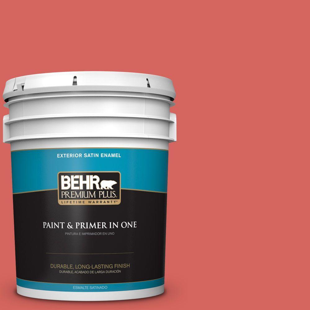 BEHR Premium Plus 5 gal. #hdc-MD-05 Desert Coral Satin Enamel Exterior Paint