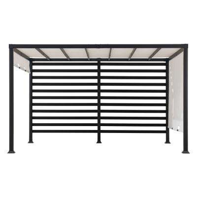 Sandy 12 ft. x 10 ft. Modern Steel Pergola with White Adjustable Shade