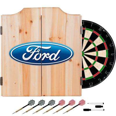 Oval Wood Finish Dart Cabinet Set