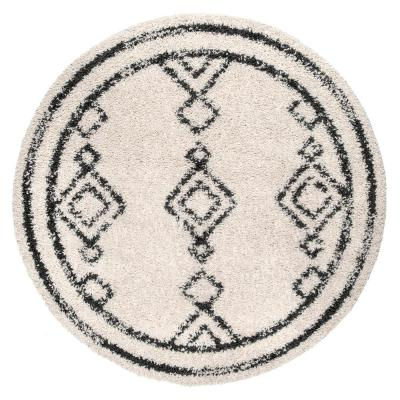 Mackie Moroccan Diamond Shag Off-White 5 ft. Round Indoor Area Rug