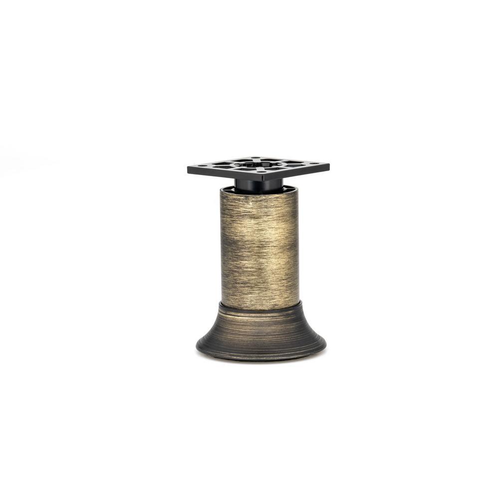 5-29/32 in (150 mm) Rustic Brass Adjustable Vintage Round Legs