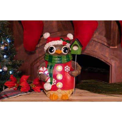 christmas owl with bird house statue tm