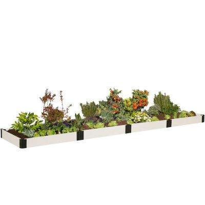 4 ft. x 16 ft. x 8 in. Classic White Composite Raised Garden Bed Kit