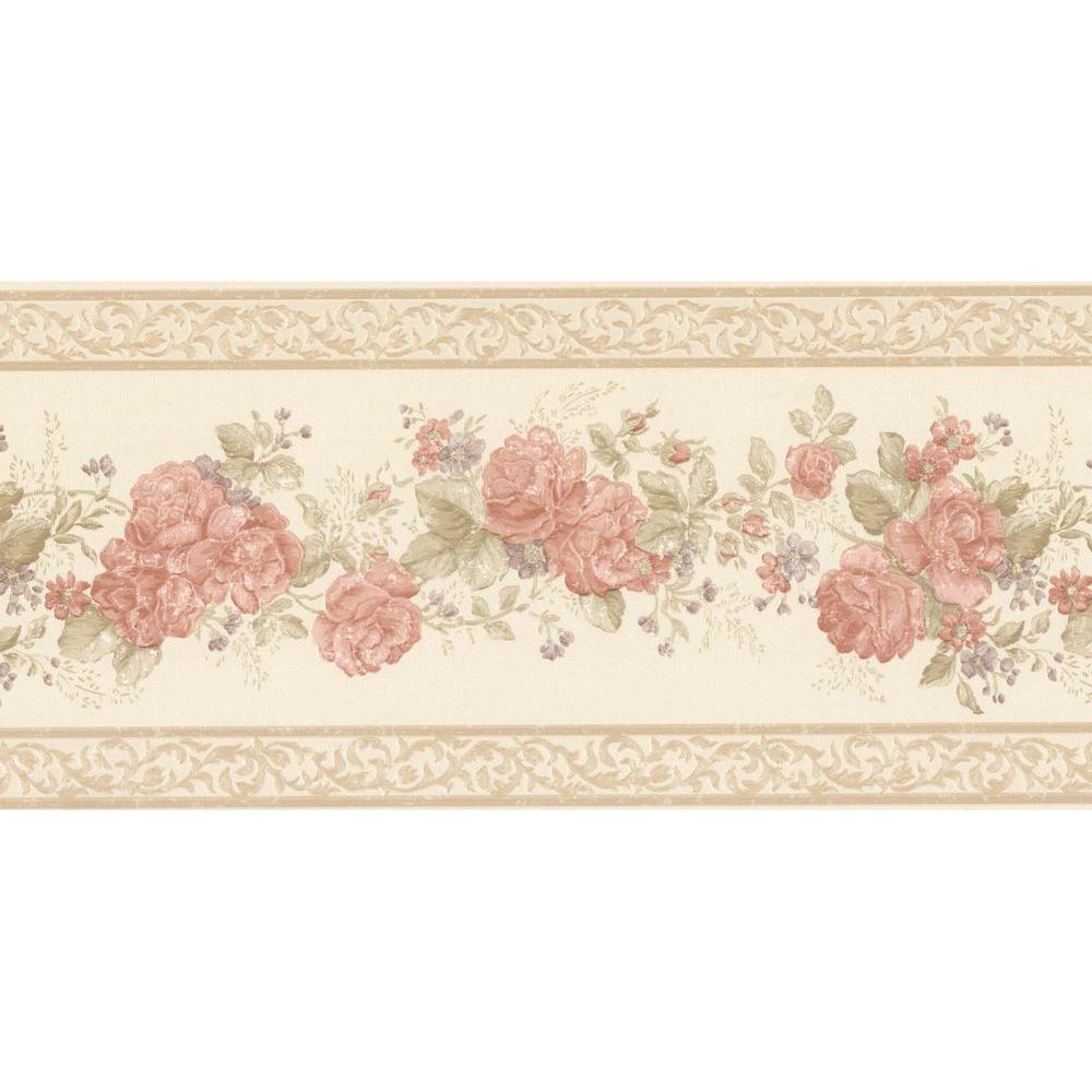 Tiff Peach Satin Floral Wallpaper Border