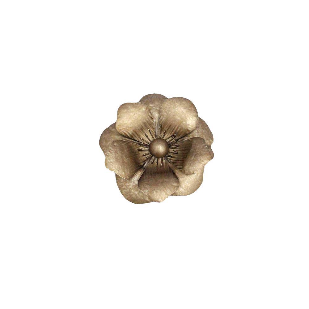 "Gold Metal Poppy Wall Flower Wb 7.75"""