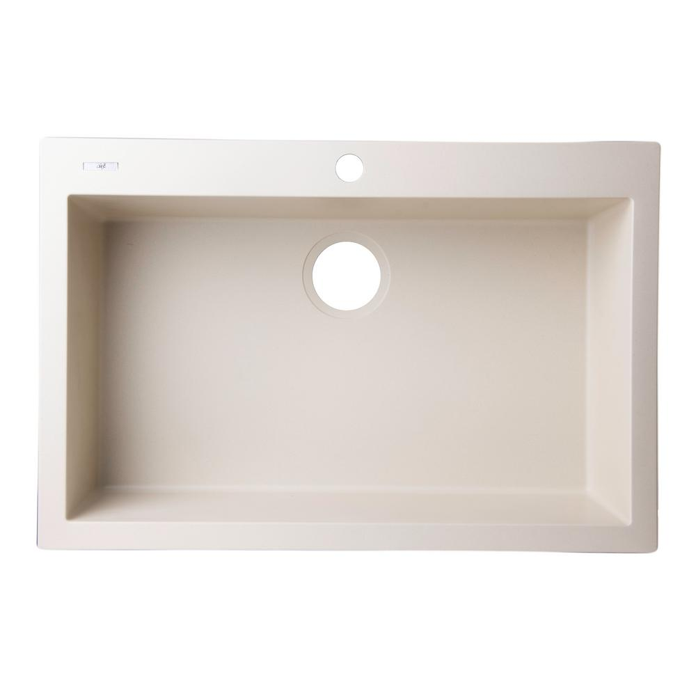 Drop-In Granite Composite 29.88 in. 1-Hole Single Bowl Kitchen Sink in