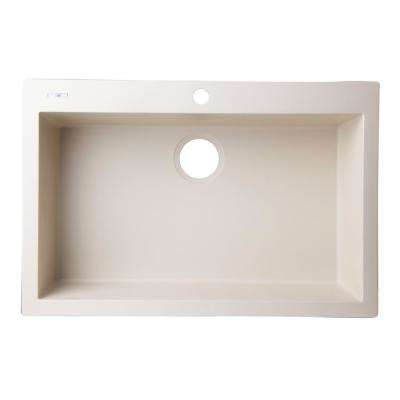 Drop-In Granite Composite 29.88 in. 1-Hole Single Bowl Kitchen Sink in Biscuit