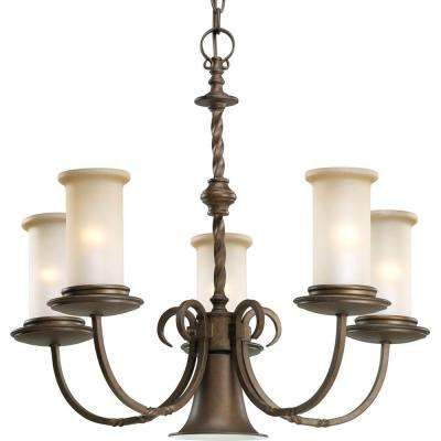Santiago Collection 5-Light Roasted Java Chandelier with Jasmine Mist Glass