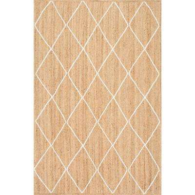 Caleb Braided Trellis Jute Natural 10 ft. x 14 ft. Area Rug