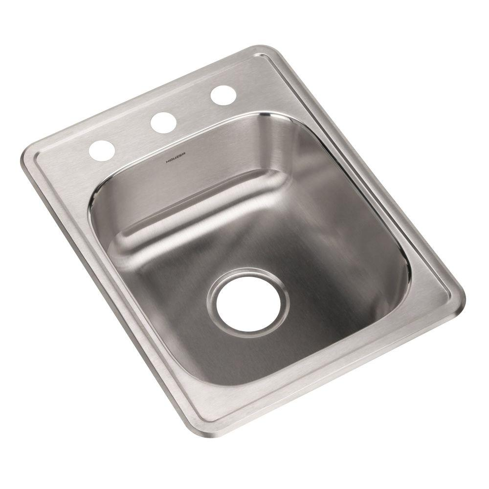 Glowtone Series Drop-In Stainless Steel 17 in. 3-Hole Single Bowl Bar/Prep