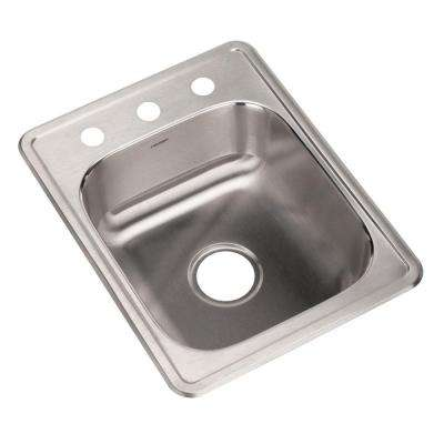 Glowtone Series Drop-In Stainless Steel 17 in. 3-Hole Bar/Prep Single Bowl Kitchen Sink
