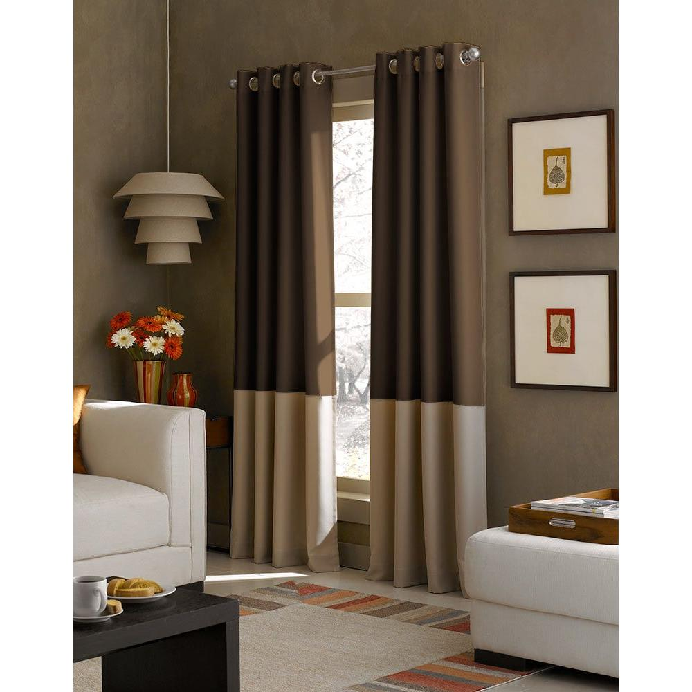 Sheer Kendall Chocolate Polyester Gabardine Color Block Grommet Curtain (1