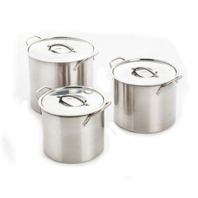 6-Piece 8 Qt., 12 Qt., and 16 Qt. Stainless Steel Stock Pot with Lids
