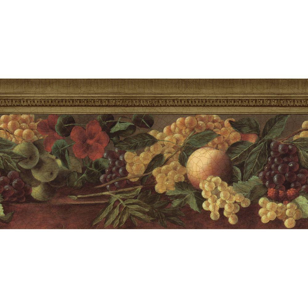 The Wallpaper Company 10.25 in. x 15 ft. Gold Fruit and Ivy Border