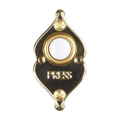 Wired Lighted Door Bell Push Button, Polished Brass