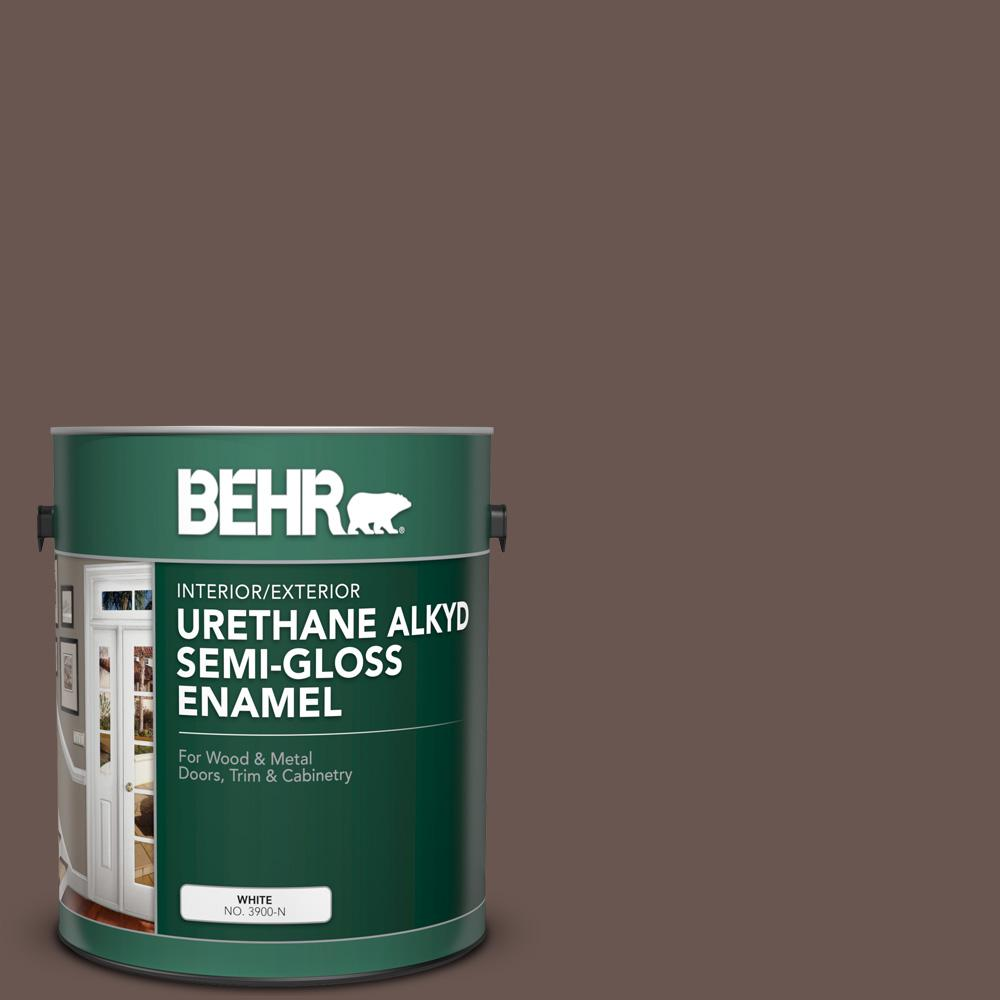 Behr 1 Gal N180 7 Oiled Teak Urethane Alkyd Semi Gloss Enamel Interior Exterior Paint