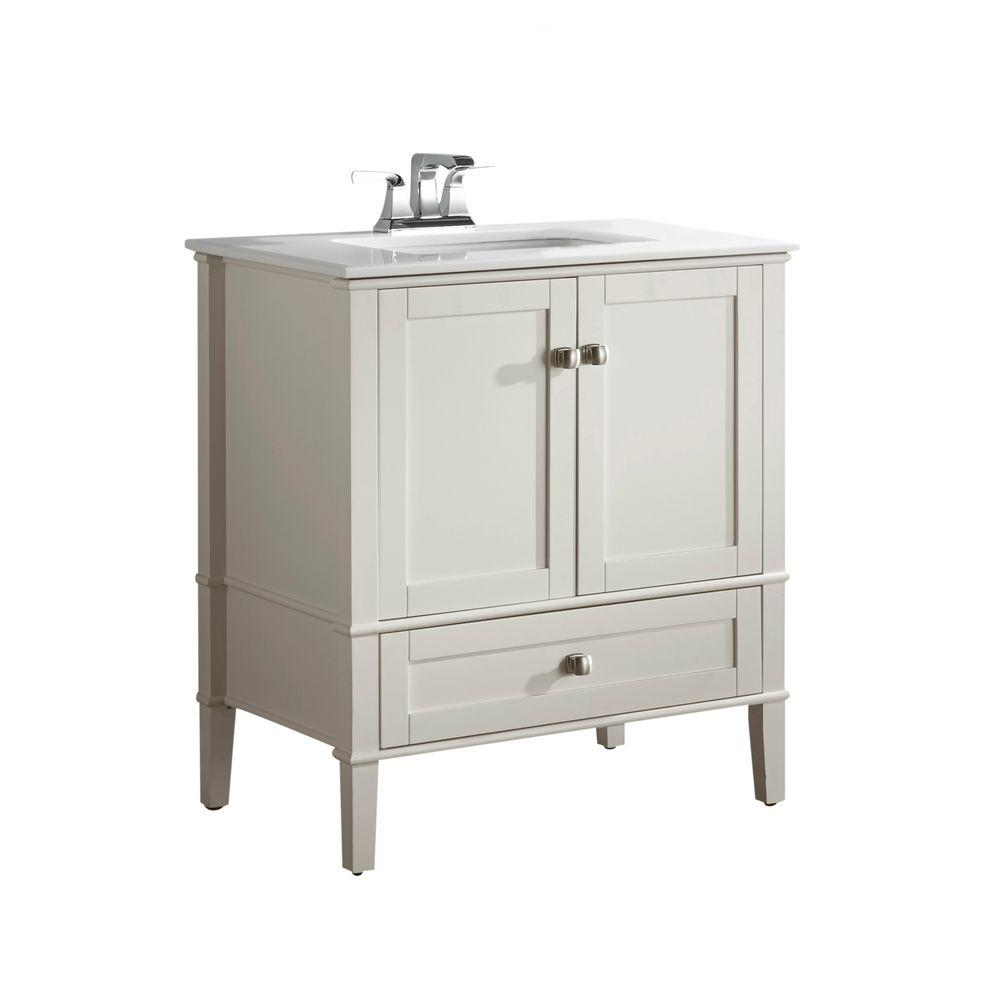 Simpli home chelsea 30 in vanity in soft white with for Bathroom cabinets 30 inch