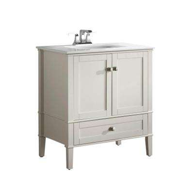 Chelsea 30 in. Vanity in Soft White with Quartz Marble Vanity Top in White and Under-Mounted Rectangular Sink