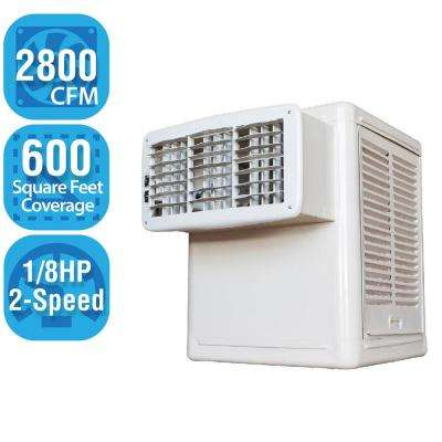 2,800 CFM 2-Speed Window Evaporative Cooler (Swamp Cooler) for 600 sq. ft. (1/8 HP Motor Included)