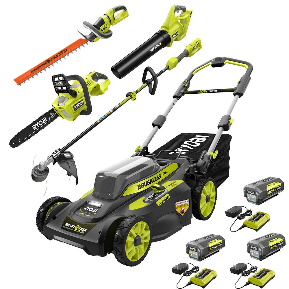 RYOBI 40-Volt Lithium-Ion Ultimate Mower/Blower/Chainsaw/Hedge/String Trimmer Kit (5-Tool) 3 Batteries and Chargers Included