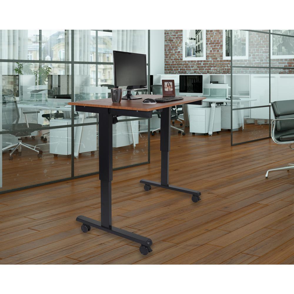Black and Teak Desk with Wheels